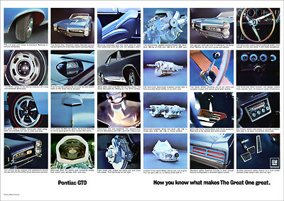 Pontiac Gto Muscle Car 67 Retro A3 Poster Print From Advert 1967