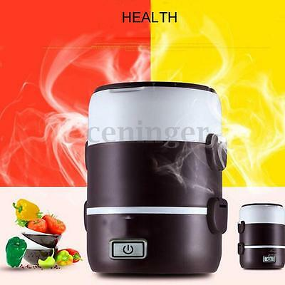 AU 1.6L 3 Layer Portable Electric Lunch Box Rice Cooker Stainless Steamer Pot