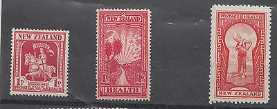 New Zealand  1933 1934 1935 Health stamps fresh Light hinged mint + laterMNH