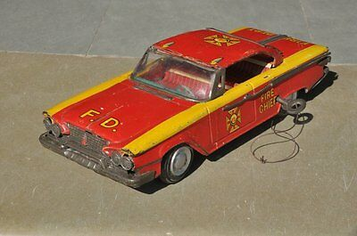 Vintage F.D Wind Up Fire Dept. RTC 70 Litho Car Tin Toy , Collectible