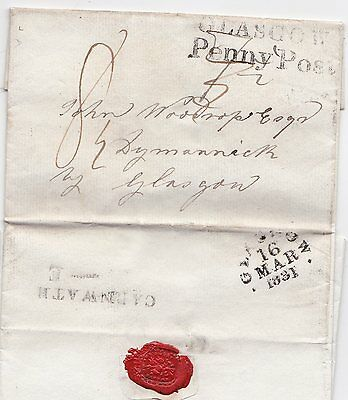 1831 Carnwath & Glasgow Penny Post H? Anderson To John Woodrop At Dymannich?