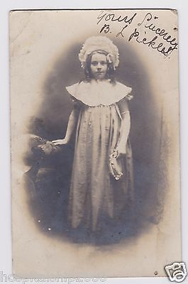 Lovely Photo Postcard Little Girl In Pretty Bridesmaid Dress Wwi