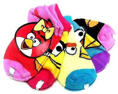 Angry Birds Five Pair Socks Size 4-6 Or 6-8.5 New