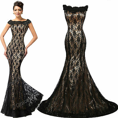 * Formal Mermaid Long Dresses Evening Cocktail Party Prom Lace Ball Gown Dress