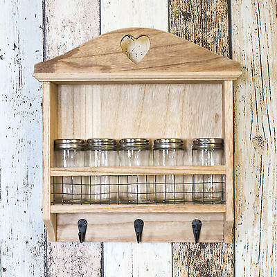 Wall Mounted Kitchen Storage Spice Rack Glass Jars Tea Towel Key Hooks Hanging