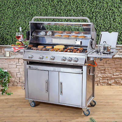 Fire Mountain Premier 6 Burner Gas Barbecue in Stainless Steel with Window