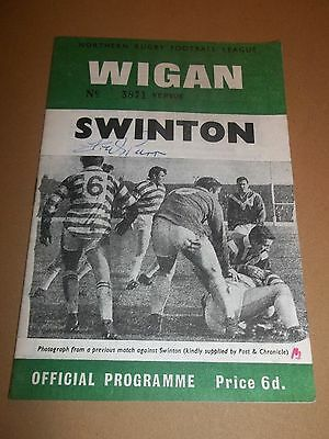 Wigan V Swinton ~ Signed Rugby League Programme 1970 ~ Excellent Condition
