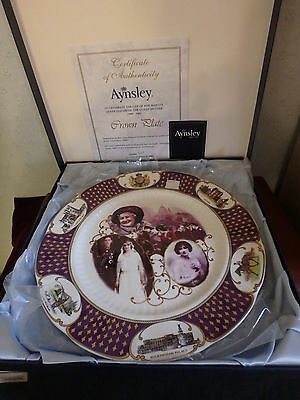 """Aynsley English China """"crown Plate"""" The Life Of Hm Queen Elizabeth Queen Mother"""