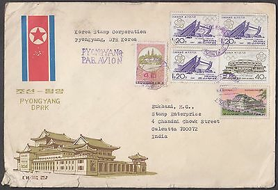 Korea Pyongyang 6 Values On Airmail Cover To India - Scarce