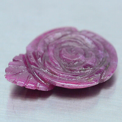16.15 Ct Natural! Red Ruby Zoizite Rose Carved Madagascar Alluring