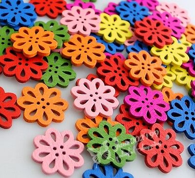 100x New Flower Wood Buttons 16mm Sewing Crafts Tools Mix Color NK015