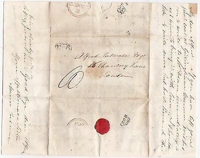 1834 Devizes Penny Post Cross Written Letter Wiltshire Pre-Stamp To London