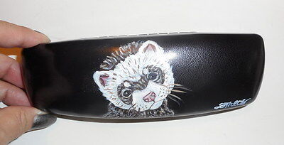 Ferret Hand Painted Eyeglass case Simulated Leather