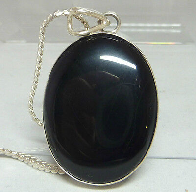 925 Sterling Silver Pendant & Necklace - Black Onyx Stone - 18""
