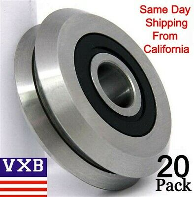 """20 PIECES RM2-2RS 3/8'' inch Track Roller Bearing V Groove Rubber Sealed 0.375"""""""