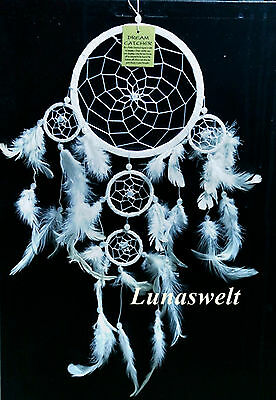 Indianer Traumfänger Snow-Wheel Dreamcatcher Weis Schneeweiss 16 cm