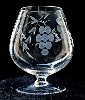 6 Brandy Glasses ~ Fine Glass ~ Etched With Grape Pattern