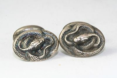 Art Nouveau Antique Sterling Silver Coiled Snake Cufflinks