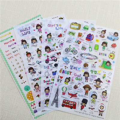DAILY LIFE CUTE STICKERS 4 sheets/set, Diary Journal Stationery Planner Labels