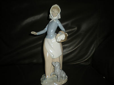 """Nao by Lladro  Figurine - """" the picnic """" lady with basket and dog 0590"""