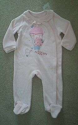 BNWT Baby Girls Pep & Co Pink Velour Babygrow Sleepsuit Size 6-9 months