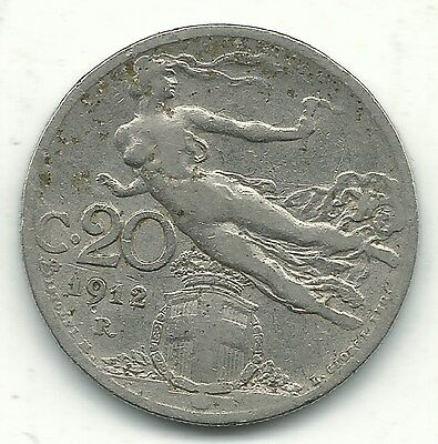 Very Nice Better Grade 1912 R Italy 20 Centesimi Coin-Non-Jan178
