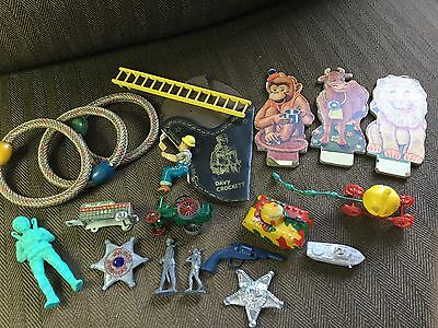 Vintage Junk Drawer Old Toys Etc Tin Litho Soldiers Cinderella NICE