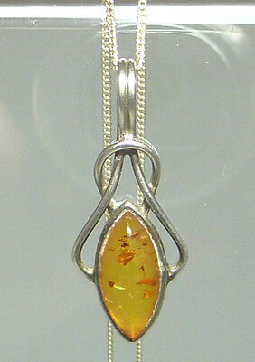 "17.5"" 925 Sterling Silver Pendant & Necklace - Amber - Knot"