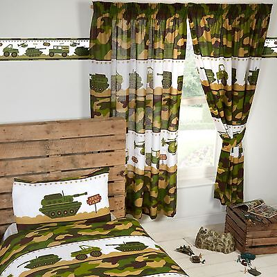"""ARMY CAMP 66"""" x 72"""" LINED CURTAINS CAMOUFLAGE TANKS MILITARY KIDS"""