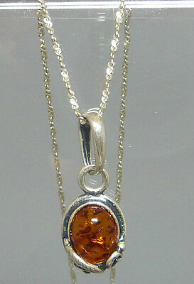 "20"" 925 Sterling Silver Pendant & Necklace - Amber"