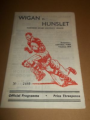 Wigan V Hunslet Rugby League Programme 1959 ~ Very Good