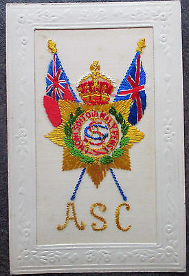 WW1 SILK Embroidered Regiment Postcard R.S.C. Royal Service Corps.