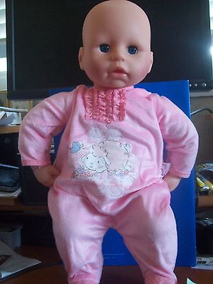 """Zapf Creation 18"""" Doll """"lovely Princess"""" In Pink Pajamas"""