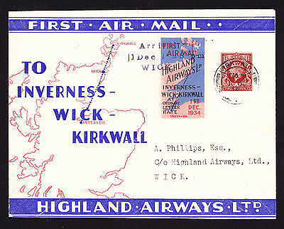 1934 Airmail Inverness Wick Kirkwall cachet Highland Airways FFC Flight cover