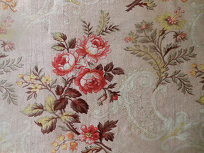 Antique French Romantic Roses Scroll Cotton Fabric ~ Red Blush Pink Yellow Gray