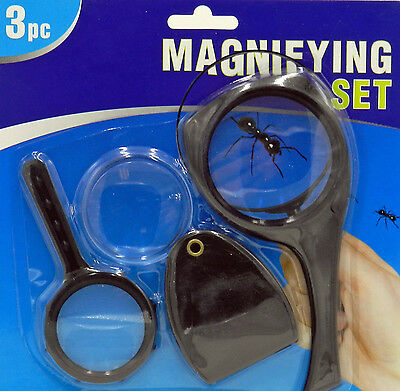 3pc 55mm Magnifying Glass Set Work Fun Creative Educational Pocket Size School