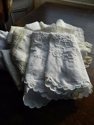 Bundle 11 items vintage white table linen lace & embroidery cloths, toppers etc