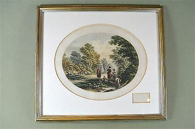 Framed antique coloured print The village spring country scene Baxter