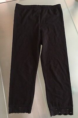 Girls Black Leggings 9-10yrs Great Condition with lace trim