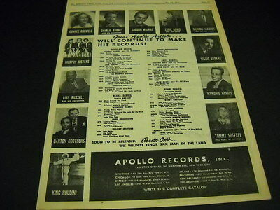 ILLINOIS JACQUET Charlie Barnet CONNEE BOSWELL King Houdini original 1947 PROMO