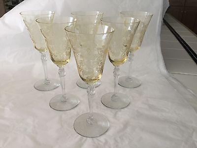 "6 Imperial Glass stem 470 ""Love Bird"" etched design sherry glasses in yellow"