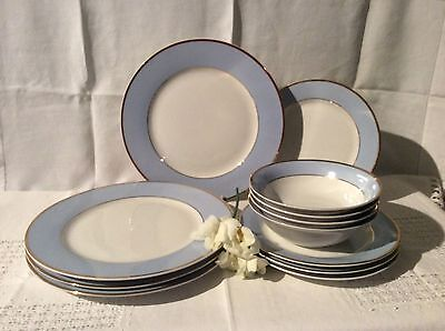 Pretty Royal Doulton Baby Blue & Gilt Dinner Service For Four Persons Vgc