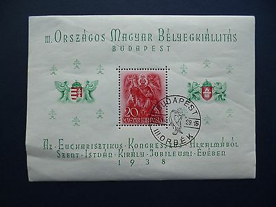 HUNGARY :- 1938 : Miniature Sheet : Used.