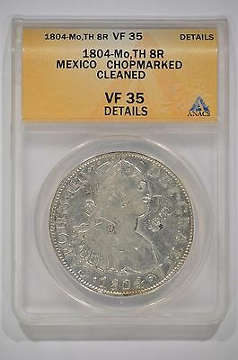1804-Mo Mexico Silver 8 Reales ANACS VF35 Details Chopmarked Cleaned 4190708