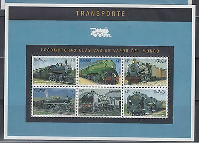 Nicaragua 1995 Trains Sheet Sc 2130 Complete mint never hinged
