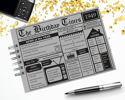 Personalised Birthday NEWSPAPER Guest Book Photo Album 21st 30th 40th 50th 60th