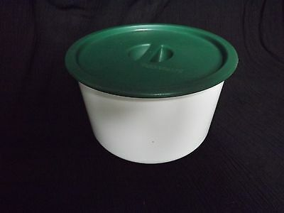 Tupperware White & Dark Green ~ Coffee Filter Canister-Keeper ~ Loose Lid