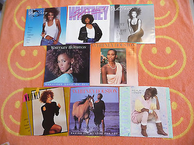 Lot of 8 WHITNEY HOUSTON 45 rpm PICTURE SLEEVES How Will I Know/So Emotional