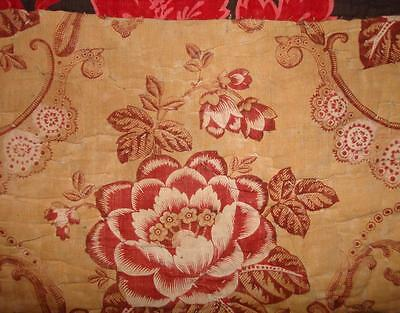 BEAUTIFUL TIMEWORN FRAGMENT 19th CENTURY FRENCH QUILT c1850