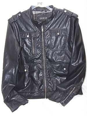 Guess Black Faux Leather Jacket Coat Military Style XL